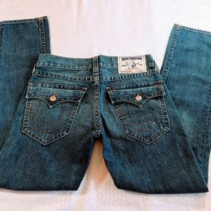 True Religion Slim Cut Distressed Jeans with Flaps